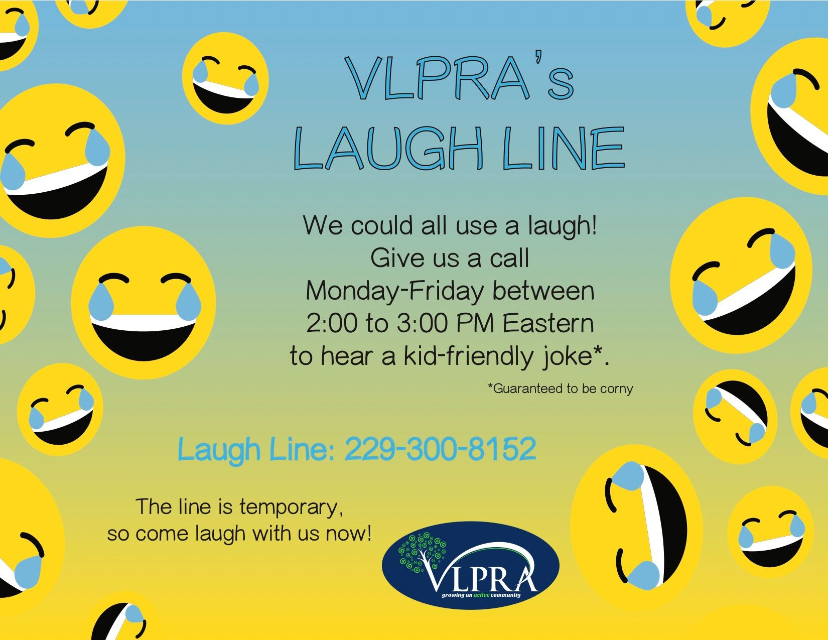 A flyer for VLPRA's laugh line, open 2-3 pm Monday through Friday