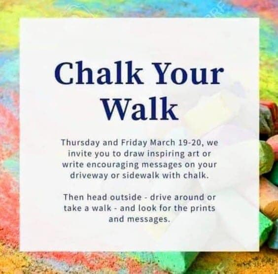 A paragraph asking people to draw on their sidewalk with chalk.