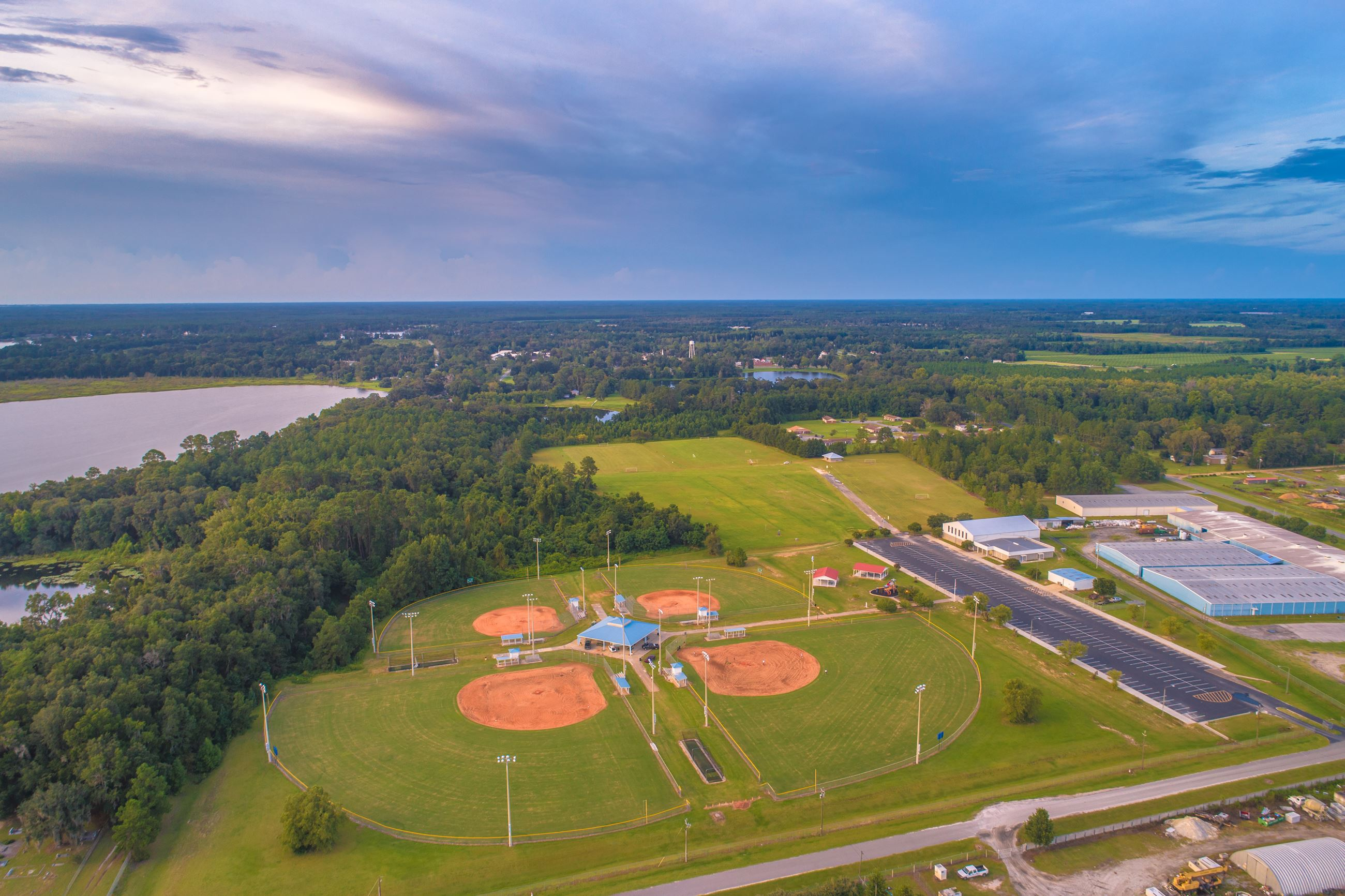 An image of four baseball fields.