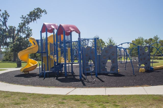 Image of playground equipment in a park.