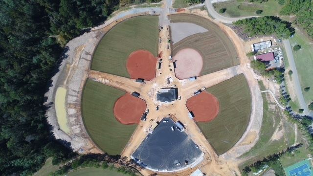 An image of baseball fields under construction.