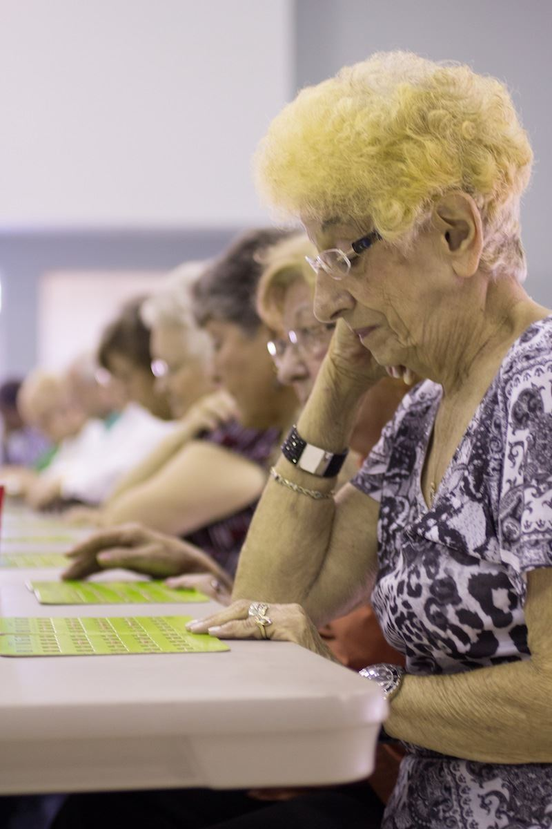 Group of women play bingo