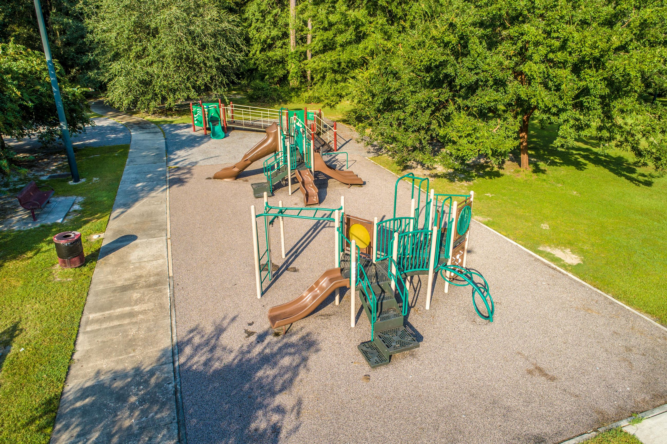 An image of an aerial view of a playground.