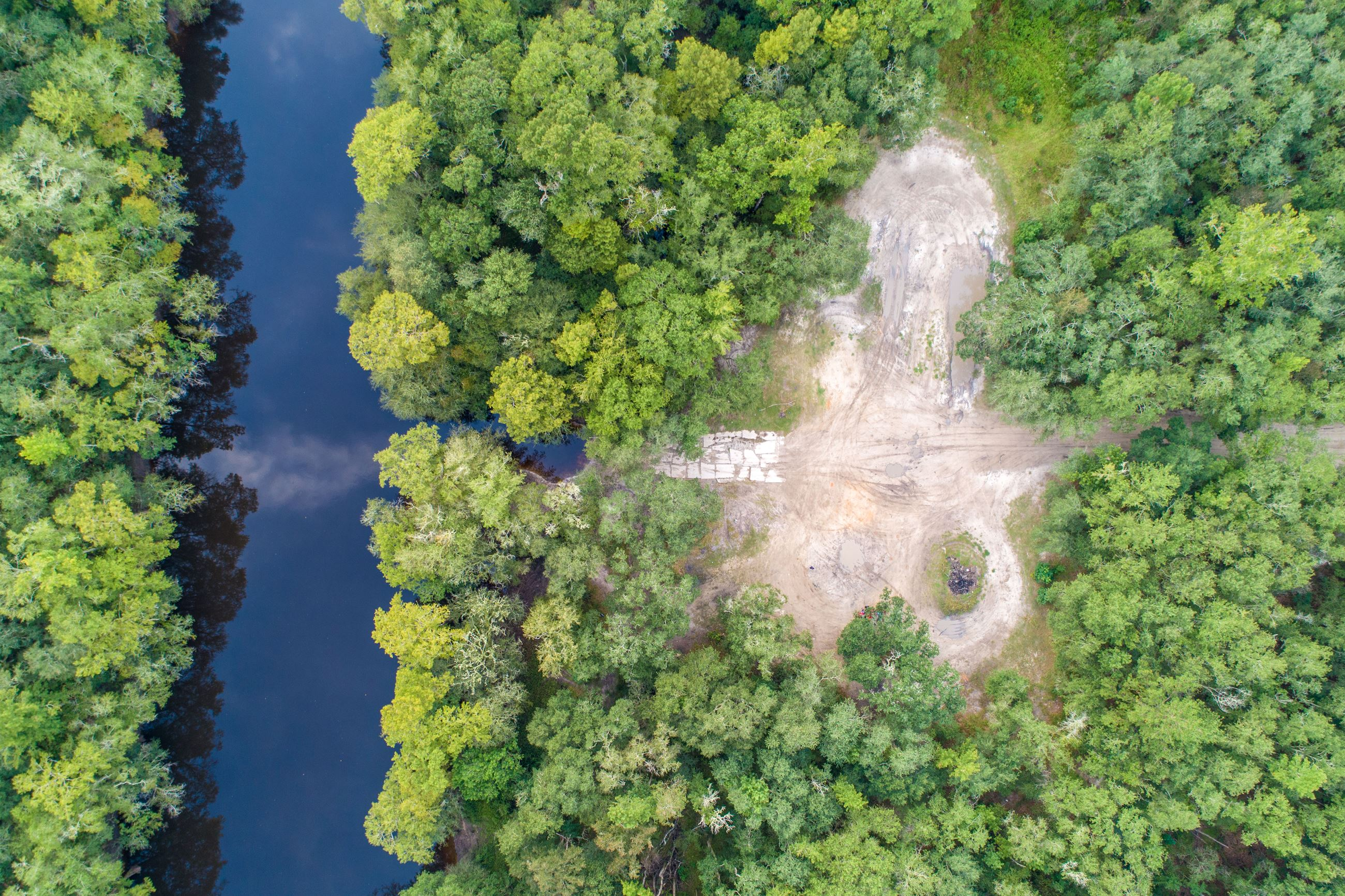 Image of an aerial view of a river surrounded by forest.