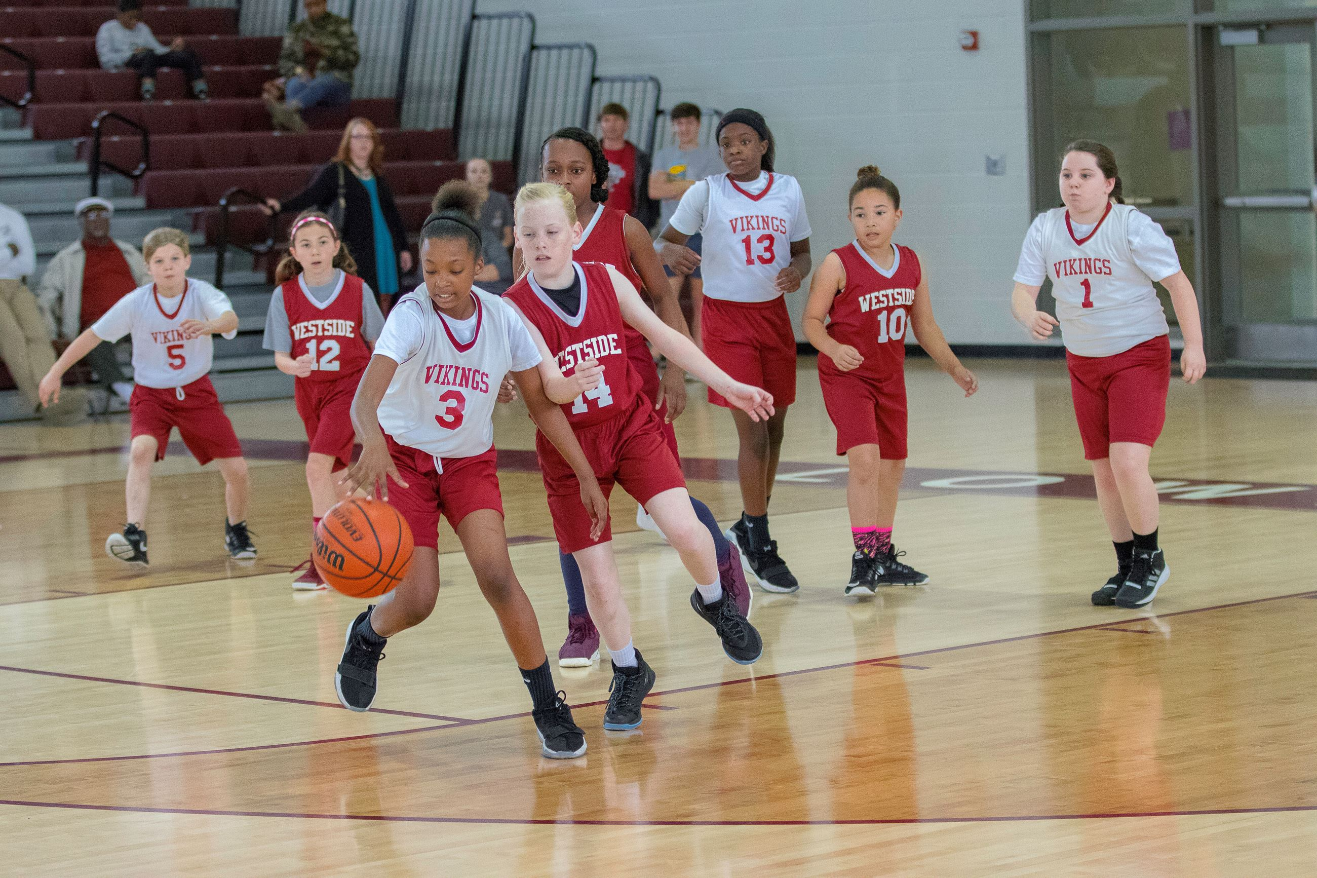 Image of girls playing basketball.